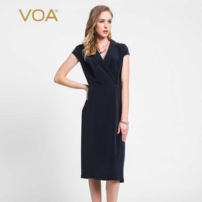bdf0b186cf1 VOA 2018 осень мода Глубокий темно синие тяжелый шелк офисный женский узкий  карандаш платье V образным