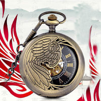 Hot Sale Phoenix Wing Hollow Bronze Case Black Dial Skeleton Automatic Mechanical Men Women Pocket Watch