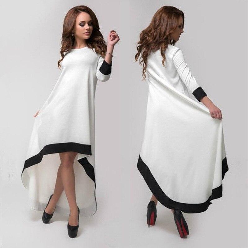 2018 Black Friday SHARI FASHION Autumn White Black Border Seven Sleeves Round Neck Long Section Irregular Irregular Large Dress