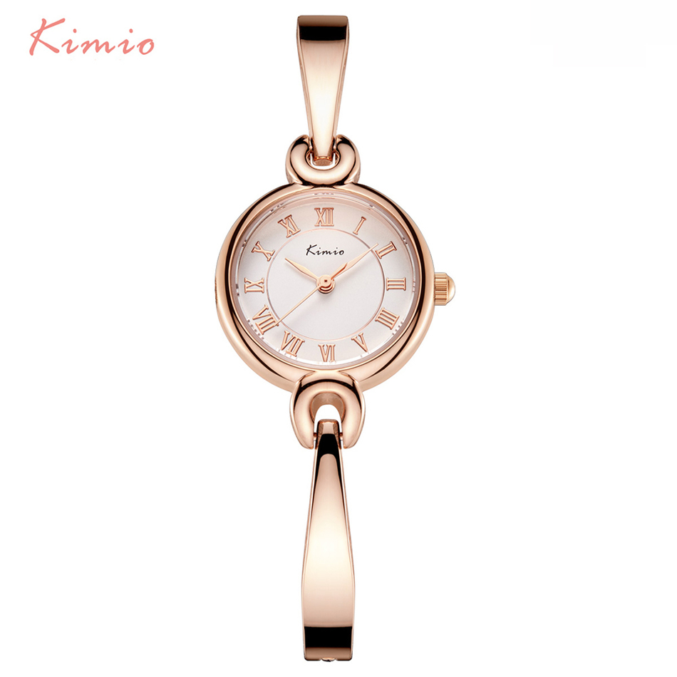 купить KIMIO Ladies Small Dial Roman Numerals Scale Bracelet Bangle Watch Strap Woman Watches 2017 Brand Luxury Quartz Watch For Women по цене 791.73 рублей