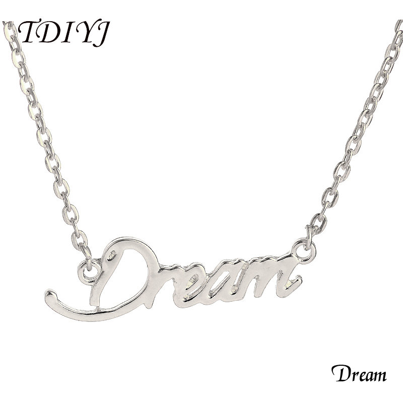 TDIYJ New Arrival Dream Word Necklace Silver 17inch Monogram Choker Collares for Women Girl Friends Family Jewelry 5Pcs