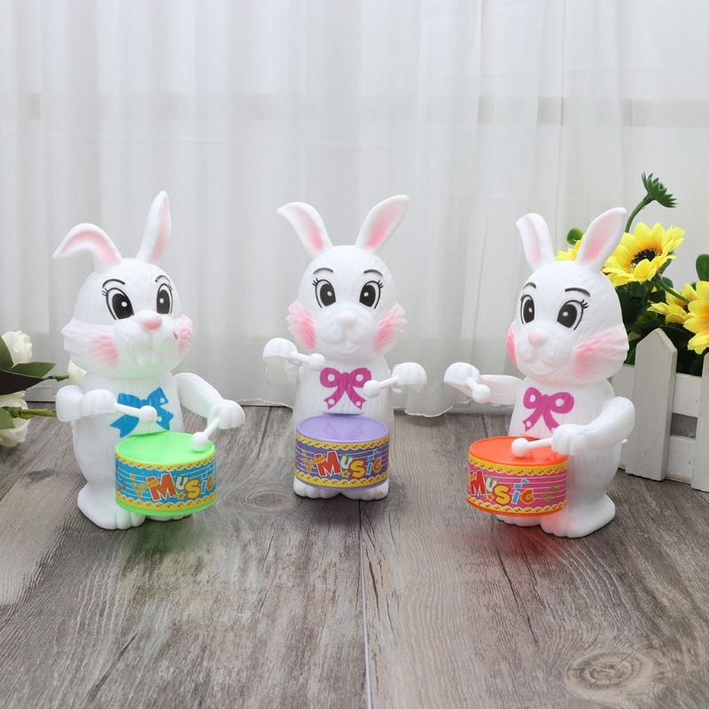 2018 NEW Rabbit Drumming Toy Wind-Up Clockwork Educational Toy Gift For Kid Wind Up Toy