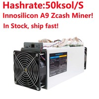 Zcash Miner ZCL ZEC BTG Asic Mining Machine Innosilicon A9 ZMaster 50k sol/s Equihash Miner Without PSU in stock!