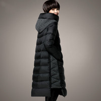 New M~4XL Plus Size Jackets Hooded Women's Duck Down Parka 2017 Winter Coat Long Thicken Female Wool Patchwork Outerwear Clothes