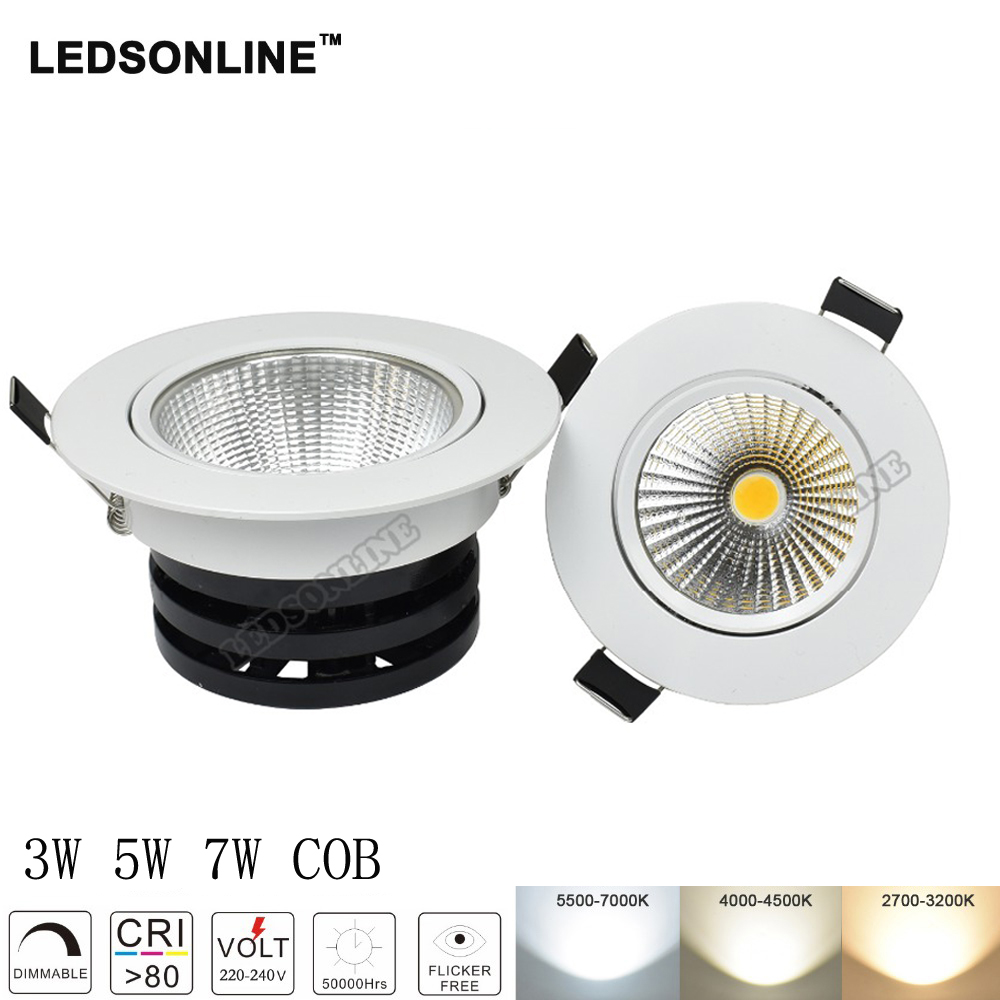 Светодиодные светильники удара 5 Вт 10 Вт d3.54in 4.33in Встраиваемые пятно света потолочный круглый Лампы для мотоциклов белый корпус 110 В 220 В 10 шт....