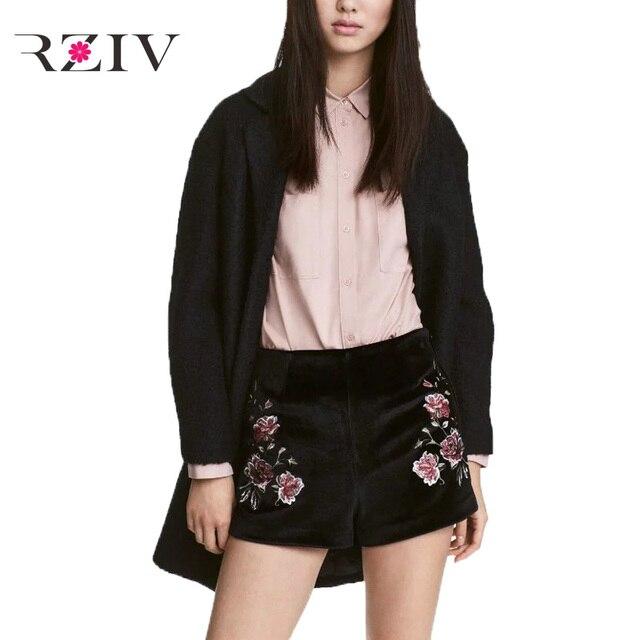 RZIV 2017 женщин досуг сплошной цвет цветы вышивка бархат шорты