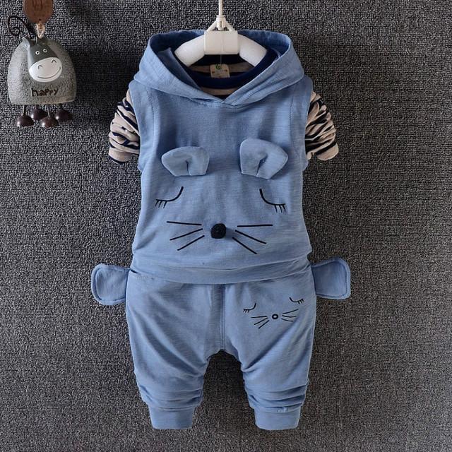 2017 Outono Crianças Meninos Meninas rato Bonito design Ternos Infantis Roupas Recém-nascidos Crianças Colete + T Shirt + Calças 3 Pcs Define As Crianças Se Adapte