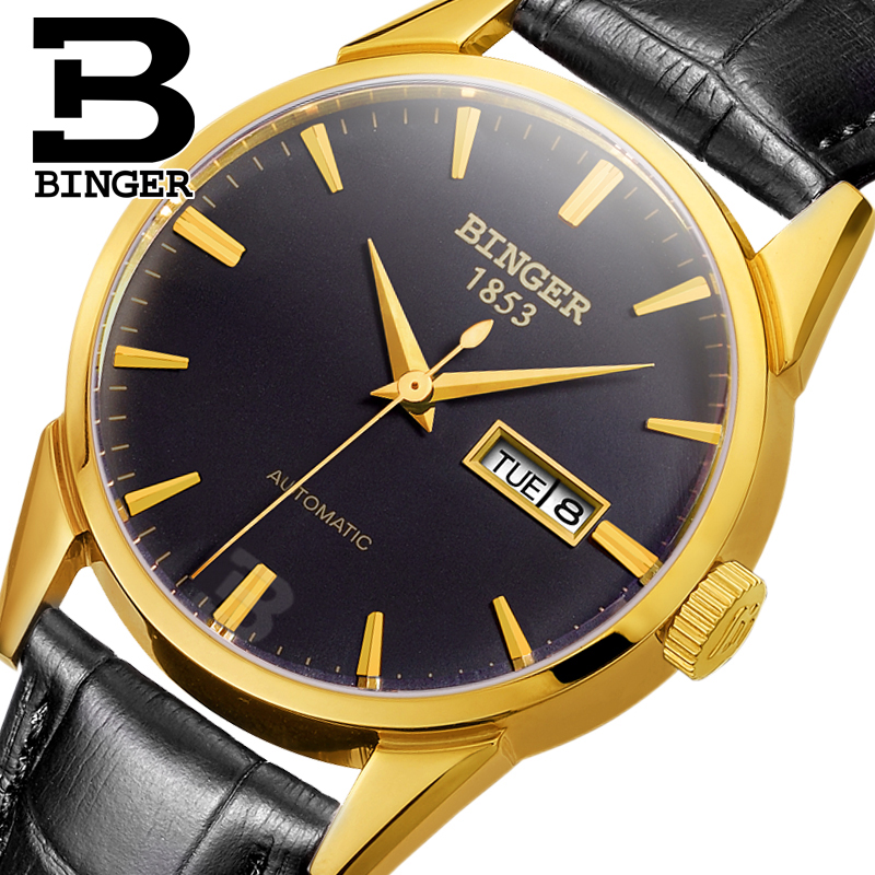 Switzerland men's watch luxury brand Wristwatches BINGER 18K gold Automatic self-wind full stainless steel waterproof  B1128-20 switzerland men s watch luxury brand wristwatches binger 18k gold automatic self wind full stainless steel waterproof b1128 6