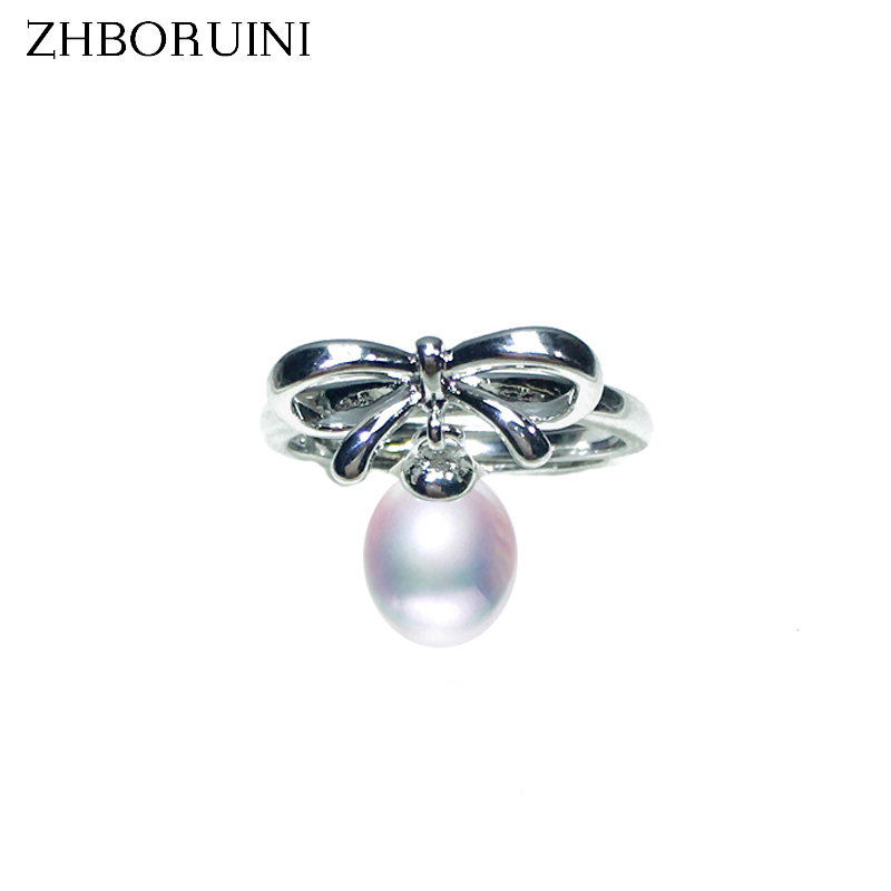ZHBORUINI 2019 Fashion Pearl Ring Bow Ring Drop Natural Freshwater Pearl Rings 925 Sterling Silver Ring Jewelry For Women Gift