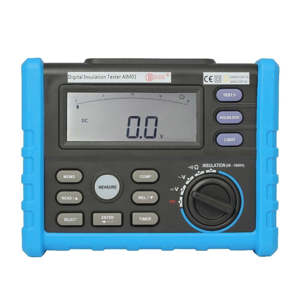 OFFCIAL BSIDE Analog and Digital 1000V MS5203 Insulation Resistance Tester megger meter 0.01~10G Ohm AIM01