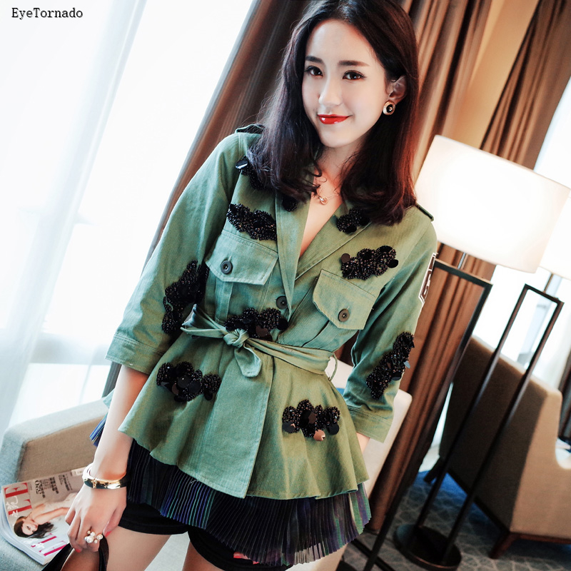 Women Autumn Jacket Fashion Letter embroidery  Beading Sequined Jacket Belted Military Army Green Pleated Jacket outwear 9498