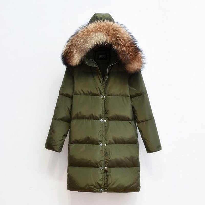 2019 大リアルナチュラルラクーン毛皮のフード冬のジャケットの女性パーカー 90% ホワイトダックダウンジャケット厚み暖かいコート