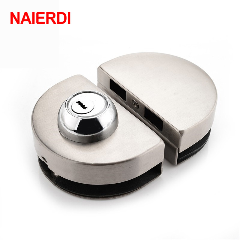 NAIERDI Double Glass Door Lock 304 Stainless Steel Single Open Frameless Door Latches Hasps For 10-12mm Thickness Hardware high quality glass door latches lock bolt 8 12mm glass no drilling for bathroom double single glass door frameless glass door