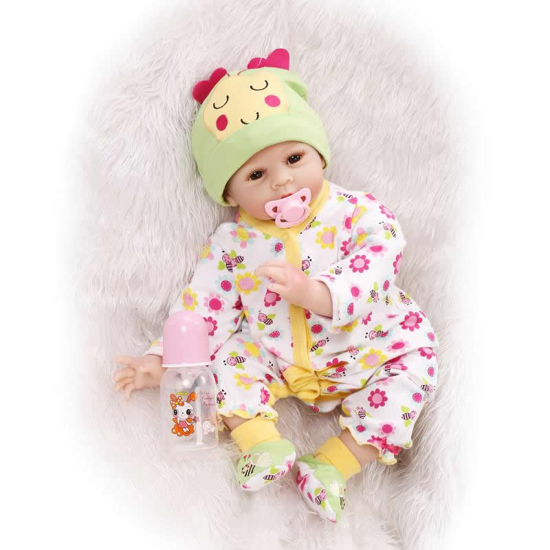 Cute 22 Inch Reborn Silicone Babies Handmade Newborn Lifelike Girl Dolls With Rooted Mohair Children Birthday New Year Gift cute 28 inch free shipping silicone reborns baby girl lifelike newborn babies dolls lovely girls doll children birthday gift