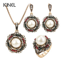 Kinel 3Pcs Vintage Imitation Pearls Jewelry Sets For Women Antique Gold Crystal Wedding Necklace Earrings Ring Turkish Jewelry(China)