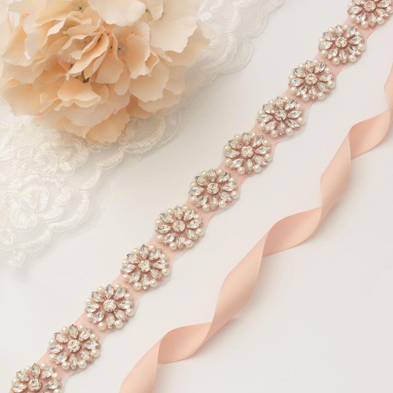 MissRDress Rhinestones Wedding Belt Elegant Pearls Bridal Belt Rose Gold Crystal Wedding Sash For Bridal Bridesmaid Dress JK900