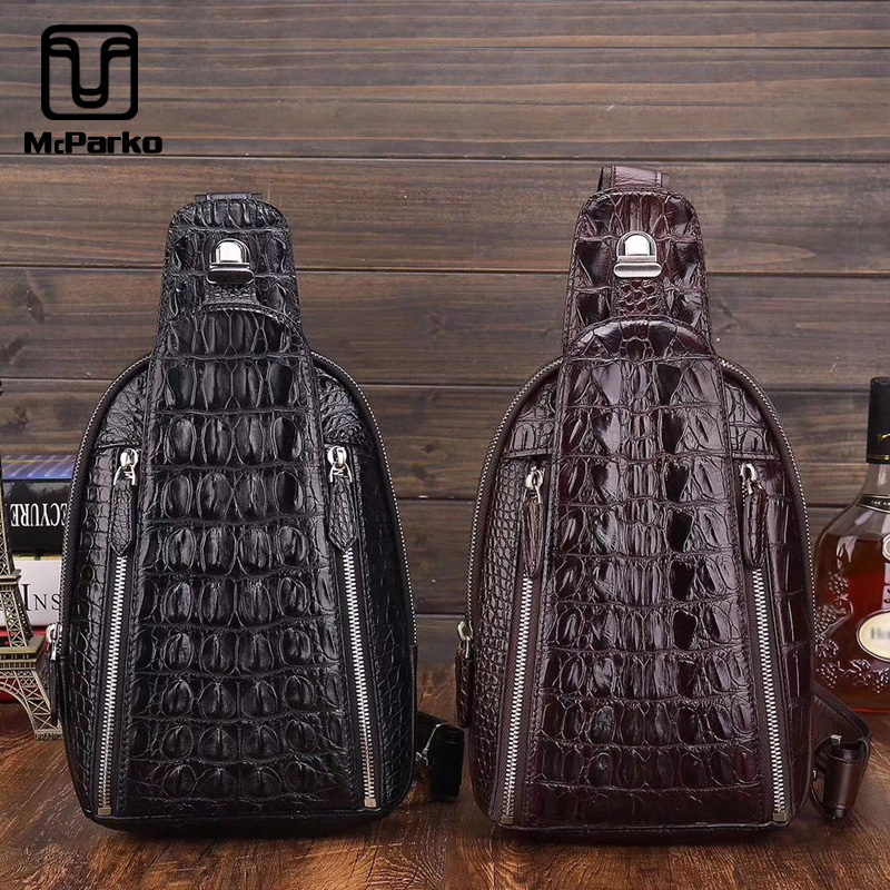 McParko Genuine Crocodile Chest Bag Men Leather Crossbody Bags Luxury Alligator Chest Bag Hip Hop Punk Gothic Rock Chestbag Male-in Waist Packs from Luggage & Bags    1