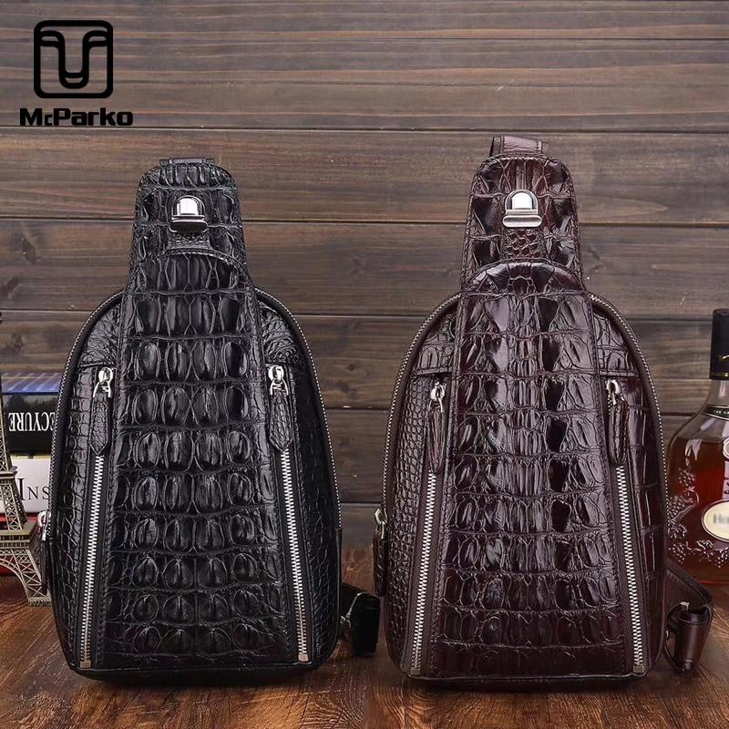 McParko z prawdziwej skóry krokodyla kobiet torebki torba w klatce piersiowej mężczyzna skórzane torby Crossbody luksusowe Alligator torba w klatce piersiowej Hip Hop Punk Gothic Rock Chestbag mężczyzna w Saszetki od Bagaże i torby na  Grupa 1