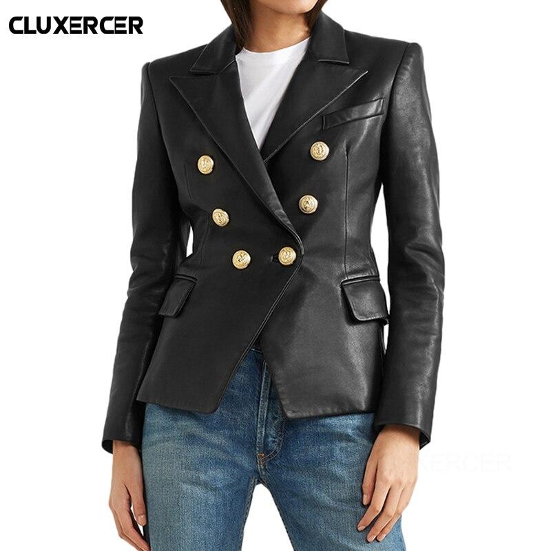 2019 ใหม่ High Street สไตล์ Faux หนังแจ็คเก็ตผู้หญิงฤดูใบไม้ร่วงฤดูหนาวแขนยาว Double Breasted Slim สีดำ Biker Jacket Outerwear-ใน หนังและหนังกลับชนิดนิ่ม จาก เสื้อผ้าสตรี บน   1