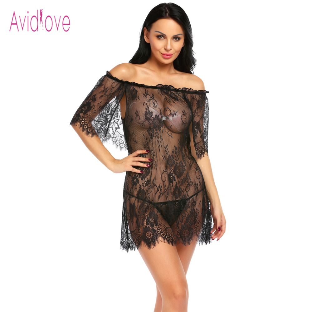 Buy Avidlove Shoulder Mini Nightwear Dress Women Babydoll Lingerie Sexy Hot Erotic Underwear Plus Size Floral Lace Nightgown