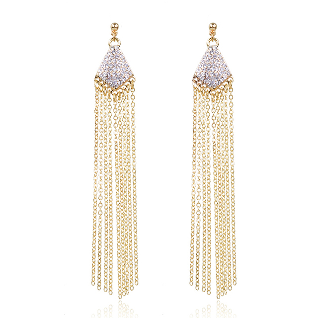 New Design Women Fashion Long Tles Dangle Earrings Gold Color Pendant Crystal Trendy Party Jewelry For