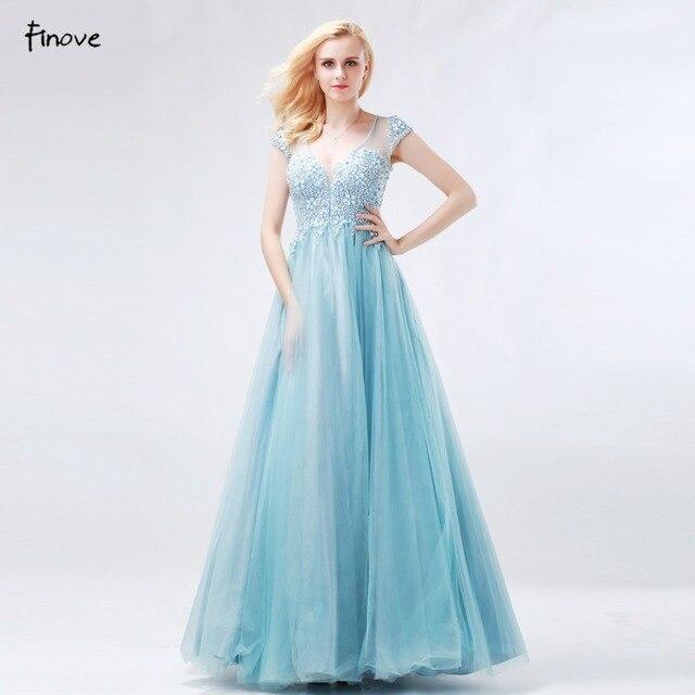 Finove Princess Prom Dresses 2018 New Arrival Blue Ball Gowns V Neck ...