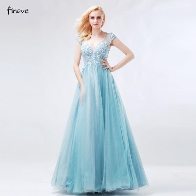 Finove Prinzessin Prom Kleider 2018 Neue Ankunft Blau Ballkleider V  ausschnitt Perlen Tüll Vestido de Debütantin Patry Blumenmädchen Kleid in  ...