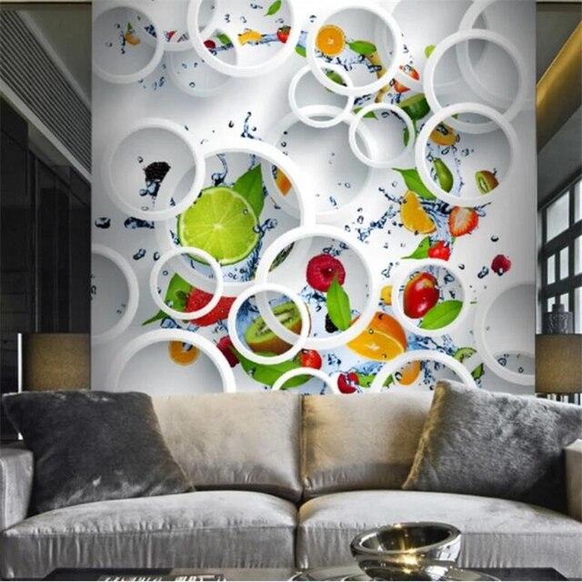 Beibehang-papier peint mural 3D personnalisé   mural, cercle de fruits, arrière-plan de restaurant, salon 5d, papier peint de 8d murales