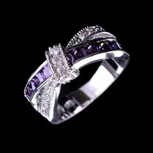Beautiful pretty fashion Wedding Party White gold color silver plated NICE women Purple crystal Lady Ring jewelry LR050