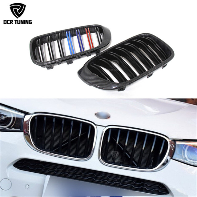 Dual Slats Carbon Fiber Front Grille For BMW X Series X4 F26 & X3 F25 2014 2015 - 2017 Three Color M Look