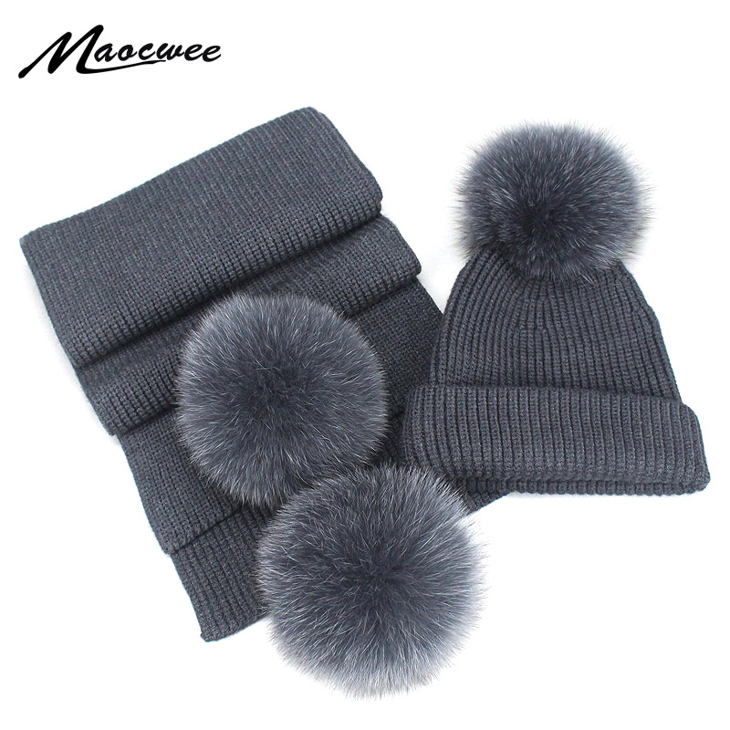 New 2 Pieces Set Children's Raccoon Fur Pom Poms Knit Beanie Hat Winter Scarf Cotton Warm Boy Girl Ski Baby Kids Thicken Bone