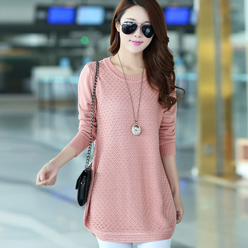 2019 Long Knitted Sweater Women Solid Pullover Full Sleeve Autumn Winter Ladies O-Neck Loose Casual Knit Sweaters Plus Size 4XL