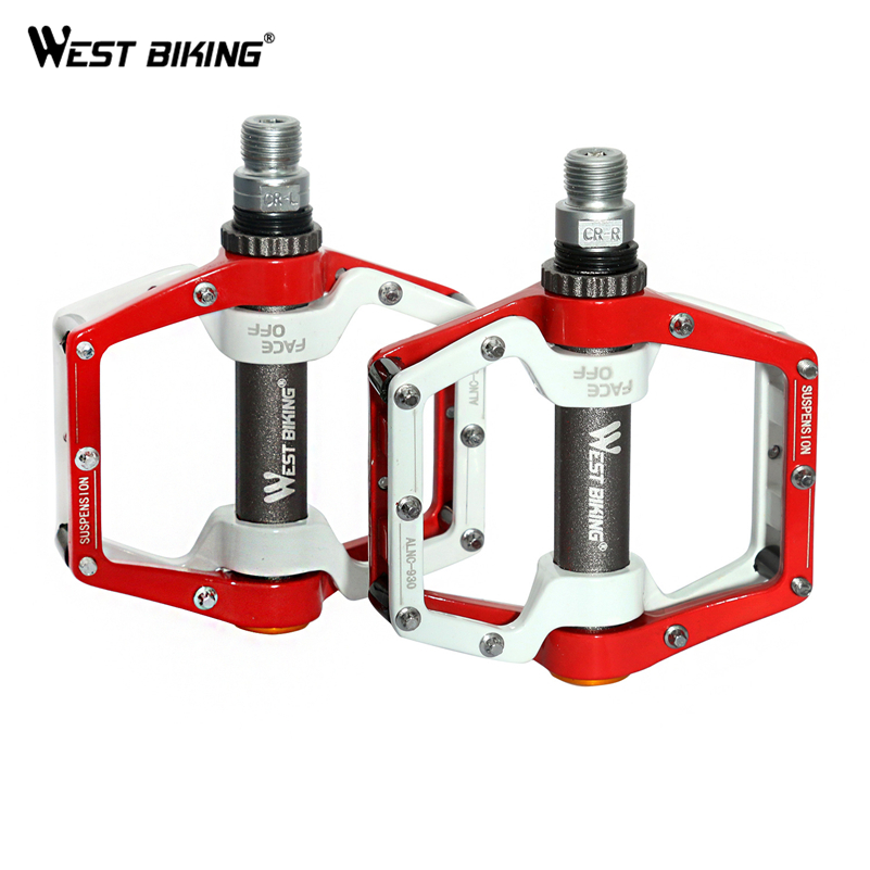 WEST BIKING Cycling Pedals Downhill BMX Light Bicycle Pedals Crank MTB Ultralight Aluminum Alloy Mountain Bike Bearing Pedals