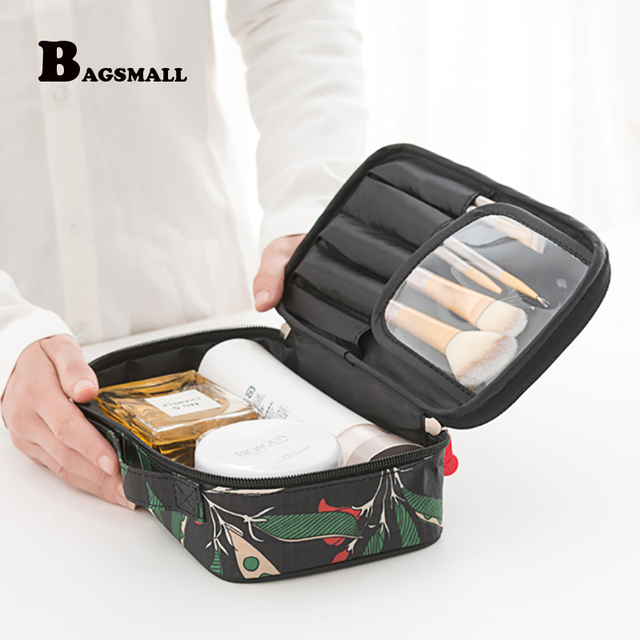 c578dc925a44 BAGSMALL Portable Travel Kit Waterproof Polyster Toiletry Bags Printing  Women Cosmetic Bag Small Makeup Packing Organization