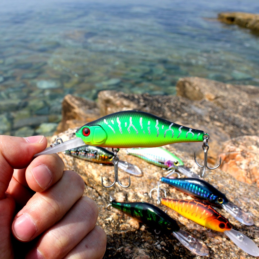 wobblers Super Quality 7 Colors 7cm 9.2g Hard Bait Minnow Crank Fishing lures Bass Fresh Salt water 6# VMC hooks