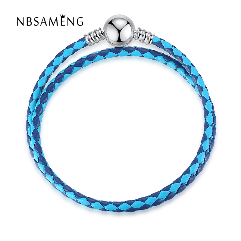 Authentic 100% 925 Sterling Silver Mixed 4 Color MOMENTS Double Women Leather Charm Fit Original Pan Bracelet Bangle DIY Jewelry