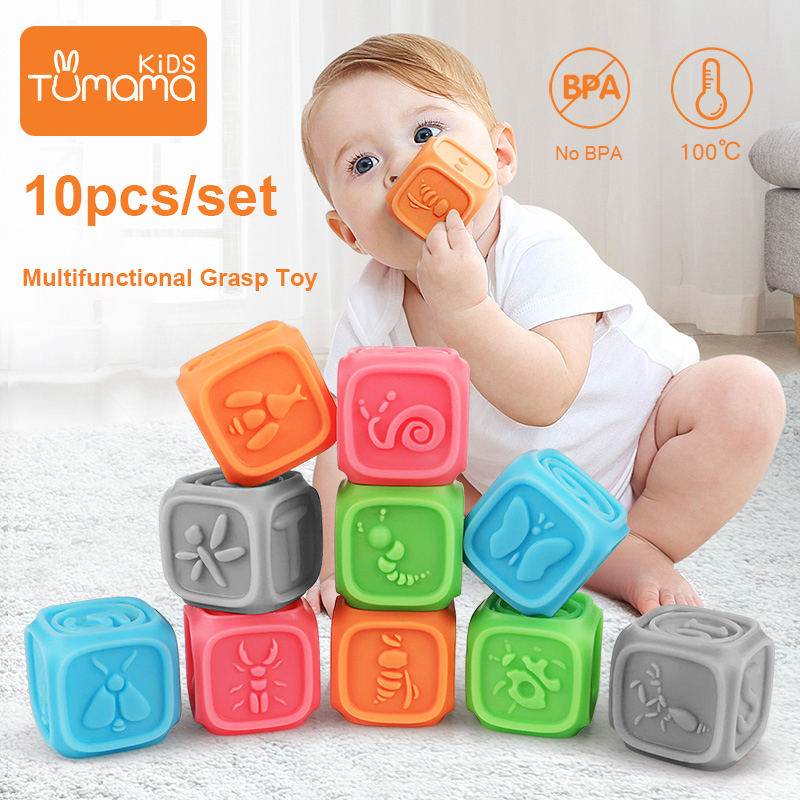 Toys Building-Blocks Rubber Soft-Balls Tumama Baby Silicone Grasp-Toy Hot-Squeeze-Toy