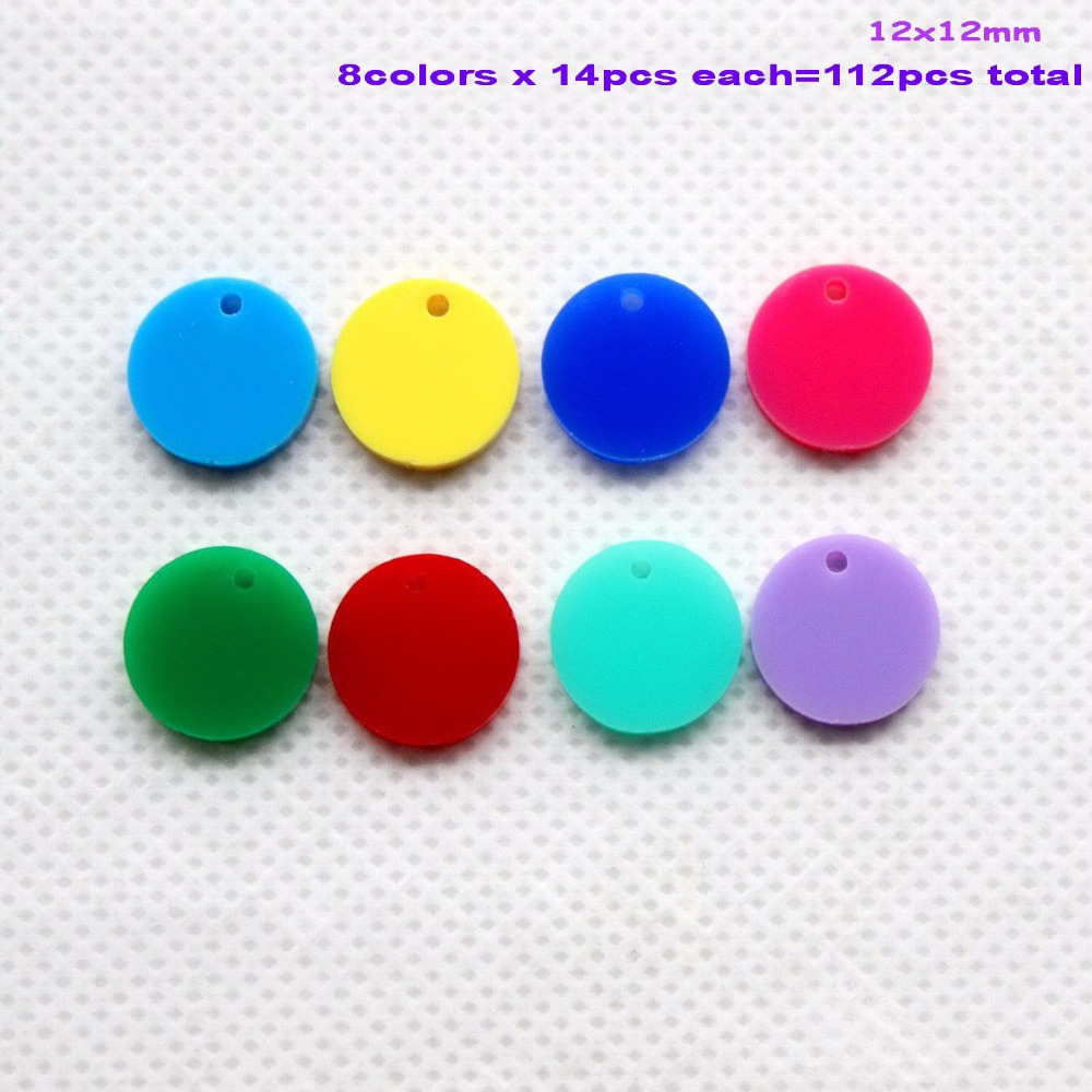 Lot) 12mm Assorted Colors Round Acrylic Stud Earring Discs  Acrylic