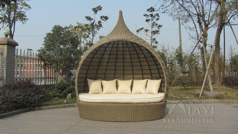 tear drop shape outdoor rattan daybed for swimming pool poolside to sea port by sea