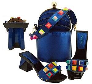 Image 1 - Zapatos y bolsos de diseño italiano a juego, zapatos de fiesta, boda con zapatos y Bolsa de moda, tacones africanos, 8 cm, MD011