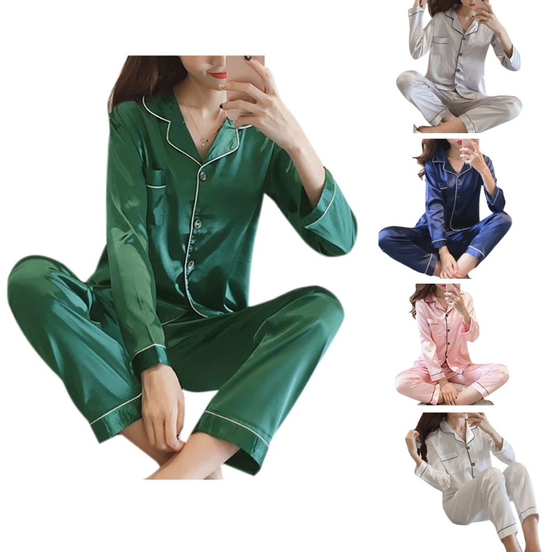 Womens Faux Silk Pajamas Set Luxury Home Clothes Long Sleeve Sleepwear Solid New