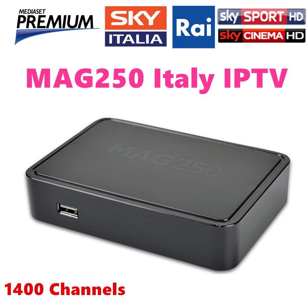 Prix pour Mag250 IPTV Boîte avec 12 mois 1400 + en direct tv 5000 VOD italie iptv canaux ciel prime Spainsh ROYAUME-UNI Italien Europe IPTV récepteur