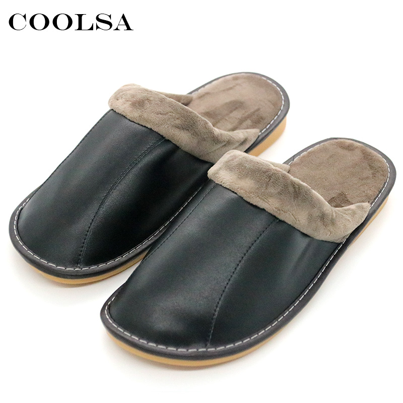 Coolsa New Winter Men Genuine Leather Sl