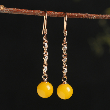 2019 new 925 silver inlaid natural beeswax ball earrings women's amber yellow honey beads earrings with certificate