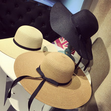 Free shipping 2017 Fashion Summer Straw Hat Cap Women's Ladies' Foldable Wide Large Brim Ribbon bowBeach Hat female Sun hat
