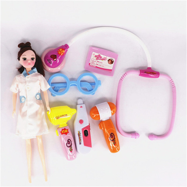7pcs/set Plastic Simulation Doctor Play Set Doll Nurse Stethoscope Holder Heat Probe Pretend Play Doctor Set Game Kids Toys