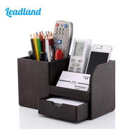 Kingfom Multi Functional Desktop Organizer Stationery Storage Pen Holder Cosmetic Organizer With Wooden Structure PU Leather