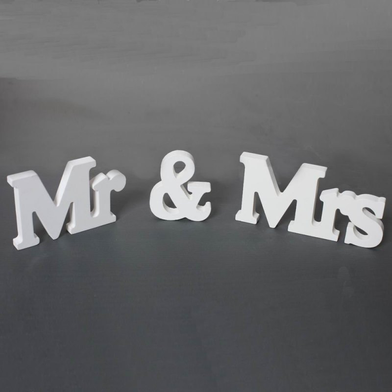 3 pcs/set Wedding Decorations Mr & Mrs Mariage Decor Birthday Party Decorations White Letters Wedding Sign Hot