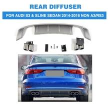 PP Car Rear Bumper Diffuser Lip With Exhaust Muffler For Audi S3 Sline Sedan 4 Door Non A3 RS3 2014-2016