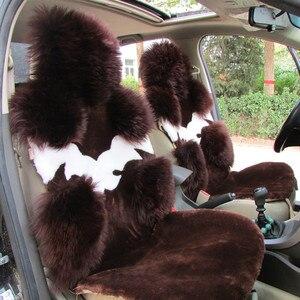 Image 1 - אוסטרלי טהור טבעי צמר מושב כיסוי עבור קדמי מושב חורף כרית מכונית באיכות גבוהה 100% אמיתי צמר כבש מושב מכסה